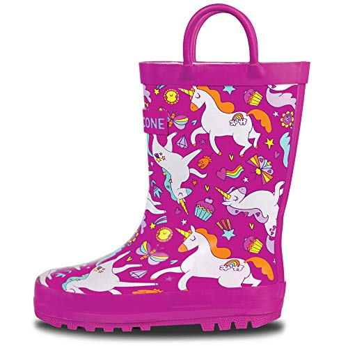 LONECONE Rain Boots with Easy-On Handles in Fun Patterns for Toddlers and Kids, Mary The Unicorn, 4 Toddler