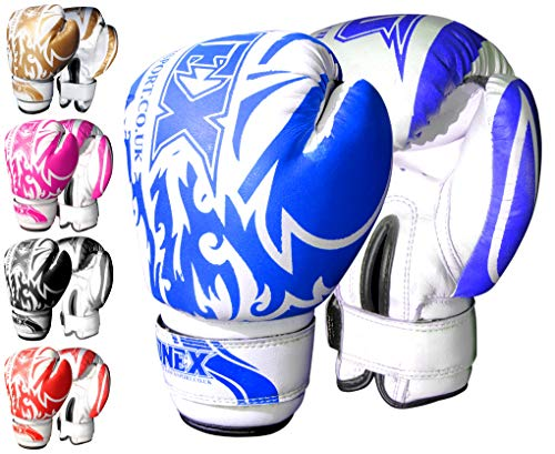 ONEX Guantoni da Boxe per Bambini Punzonatura dei Guanti Lotta di MMA Guanti Kickboxing Allenamento Arti Marziali Boxing Glove 6oz … (Blue)