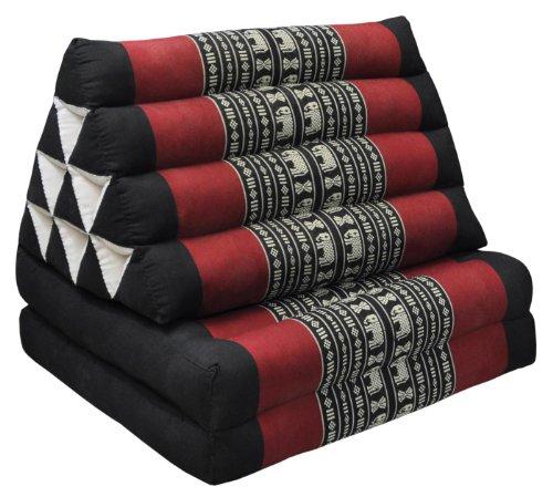 Wifash 81602 - Cuscino triangolare tailandese con materasso a 2 parti, pieghevole, colore: Nero/Rosso