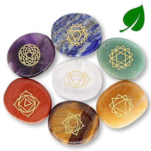 NatureWonders All Natural 7 Chakra Stone Set with Engraved Symbol (Information Card & Pouch) - Healing Crystals, Balancing, Tumbled Polished Palm Stone, Meditation, Love, Abundance, Manifestation