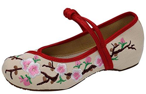 Icegrey vrouwen pruim bloesem geborduurd wandelen platte schoenen