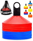 Pro Disc Cones (Set of 50) - Agility Soccer Cones with Carry Bag and Holder for...
