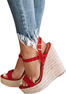 91583d26cfa Syktkmx Womens Strappy Espadrille Platform Wedge Sandals Open Toe Slingback  Mid Heel Summer Sandals