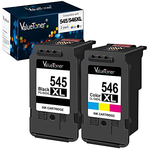 Valuetoner Remanufactured Cartouches d'encre Remplacement pour Canon 545 546 XL pour Pixma MX495 MX490 iP2800 iP2850 MG2450 MG2550 MG2950 MG3051 MG2550S MG2950S (Noir Couleur, 2-Pack)