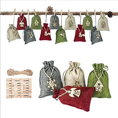 Oyria Juego de Bolsas de Yute navideñas Bolsas de Dulces con cordón de arpillera de Lino Favores de Fiesta Bolsas de Regalo con cordón Bolsa de arpillera de Navidad