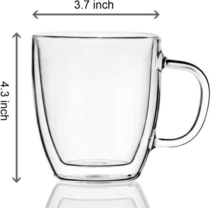 Double-wall 16 oz Borosilicate Glass Coffee Mug Cup TeaCup with bamboo lid