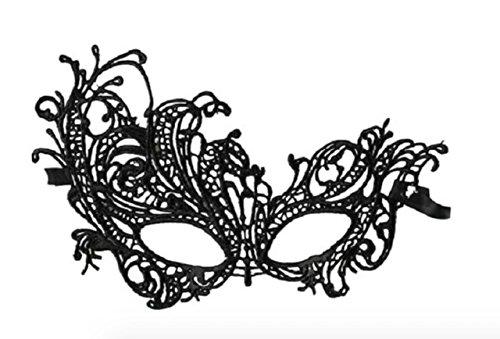 Accessoire coquin déguisement: masque loup en dentelle noire forme arabesque