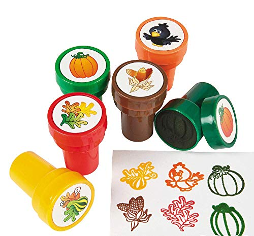 Plastic Harvest Pumpkin and Fall Leaves Stampers - 24 pc