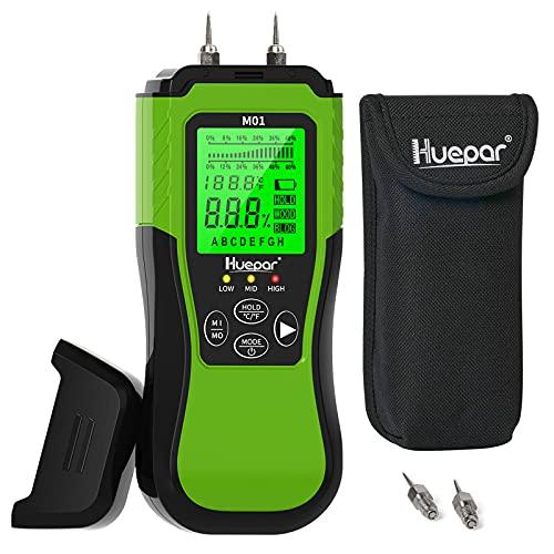 Huepar デジタル木材水分計 水分測定器 建材測定可能 薪 水分測定メーター LCDディスプレイ ホールド機能 含水率計 日本語説明書付き M01