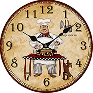 Chef Wall Clock Battery Operated Art Silent Non-Ticking Small Wood Clock 12 Inches