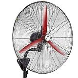Koovin Ventilador de Pared Industrial con oscilación de 150 °-Ventilador de Montaje en Pared de Alta Velocidad de Seguridad, Interior/Exterior, Negro