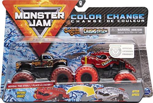 Monster Jam Camiones Monstruos fundidos a presión del Captain's Curse vs. Crushstation Que cambian de Color, Escala 1:64