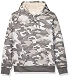 Amazon Essentials Men's Sherpa Lined Pullover Hoodie Sweatshirt, Grey Camo, Medium