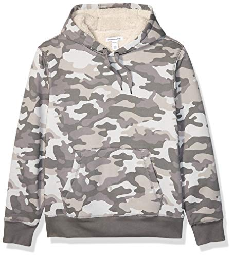 Amazon Essentials Men's Sherpa Lined Pullover Hoodie Sweatshirt, Grey Camo, X-Large