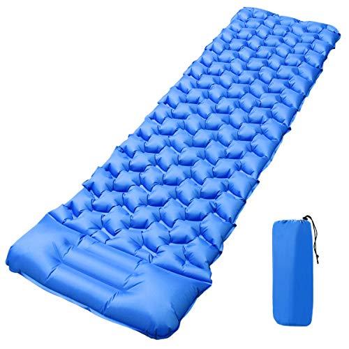 Qomolo Camping Isomatte Kleines Packmaß, 550g Ultraleichte Isomatte Aufblasbare Luftmatratze Schlafmatte mit Kissen für Camping, Reise, Outdoor, Wandern, Strand