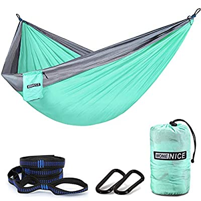 WoneNice Camping Hammock - 118''L x 78''W Extra Large Parachute Nylon Double Tree Hammocks with Tree Straps for Travel, Beach, Outdoor, Backpacking (Turquoise/Grey)