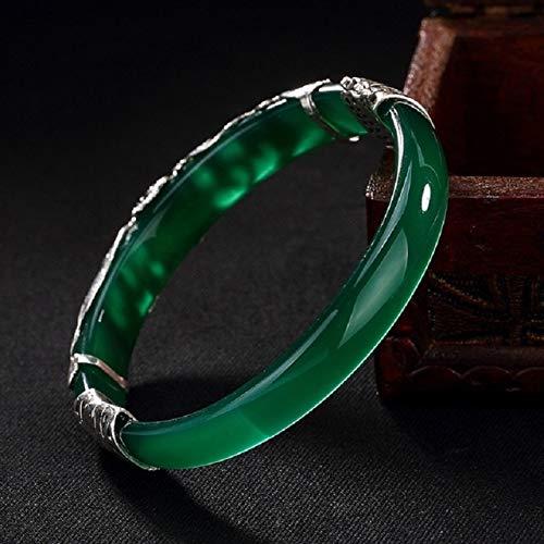 PINGGUO S925 plata esterlina calcedonia abrible brazaletes verde blanco hecho a mano plata tailandesa Natural Jade pulsera joyería fina para las mujeres