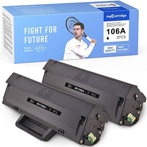 MyCartridge 106A Toner compatibile con HP W1106A 106A [con Chip] per HP Laser MFP 135a 135w 135r 137fnw HP Laser 107a 107w 107r (Nero*2)