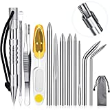 Ferraycle Stainless Steel FID Set Paracord FID Marlinspike Set Paracord Stitching Lacing Stitching Needles and Smoothing Tool Knotter Tools for Leather or Paracord Work (Silver)