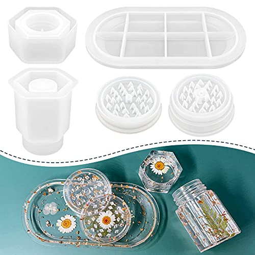 3 Pcs Silicone Resin Molds with Grinder Mold- Premium Resin Rolling Tray Mold...