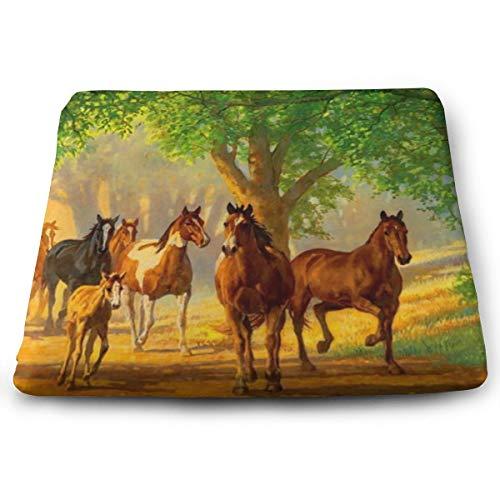 Sitzkissen aus Memory-Schaumstoff für Autositzerhöhung – Sitzkissen für Bürostuhl – Pferde im schönen Herbst