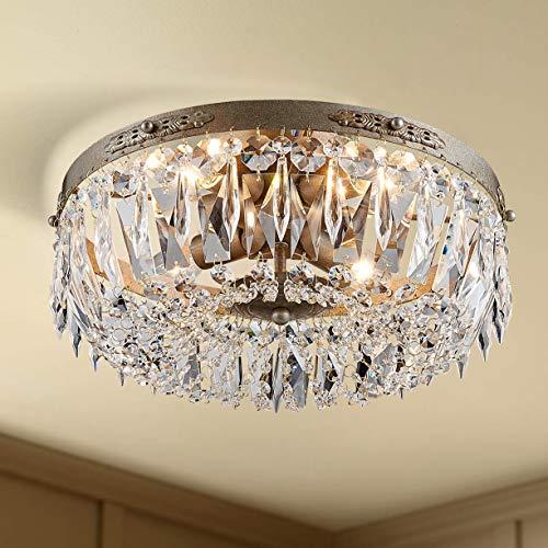 Bestier Antique Silver French Empire Crystal Semi Flush Mount Araña de iluminación Iluminación LED Lámpara de techo Lámpara para comedor Baño Dormitorio Sala de estar 4 bombillas E14 requerida
