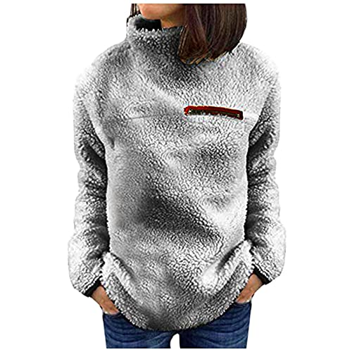 Women's Fall Tops Casual Long Sleeve Pullover Fall Winter Basic Sweatshirt Cozy Jumper Tops Loose Fit Gray
