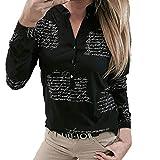 T-Shirt Top Camicetta Donna Scollo a V Lettere Stampa Pulsante Manica Lunga (XXL,2- Nero)