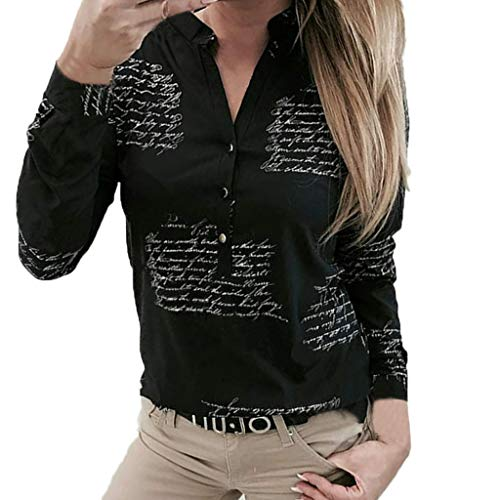 Camicia Scollo A V Blusa con Manica Lunga T-Shirt Button-Down Chiffon Camicetta Nero Maglietta per Lavoro di Ufficio Camicie Donne V Collo Stampa Pulsante A Maniche Lunghe T-Shirt Tops Camicetta