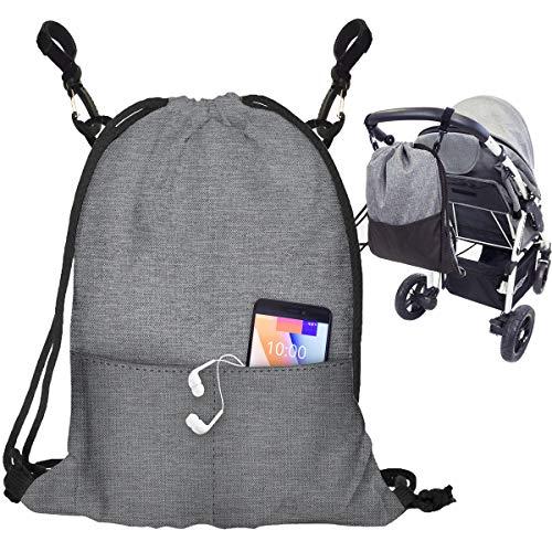 Kinderwagen Organizer Buggy Tasche Baby Wickeltasche Trolley Kinderwagentasche mit Befestigungshaken Modische Universal Turnbeutel Organizer Für Mutter Flachs [075]