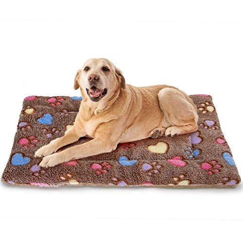 Nobleza Cama para Perros, colchoneta para Mascotas, Pata pequeña impresión paño Grueso y Suave Manta Suave Estera del Animal doméstico, Lavable (L,marrón)