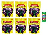 Mariani Dried Prunes with Pits 7 oz Resealable Bag (Pack of 6) with Free Blue Diamond Almonds Pack (Prunes with Pits)