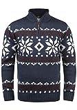 !Solid Norwin Herren Weihnachtspullover Norweger-Pullover Winter Strickpullover Troyer Grobstrick mit Stehkragen, Größe:L, Farbe:Insignia Blue Melange (8991)