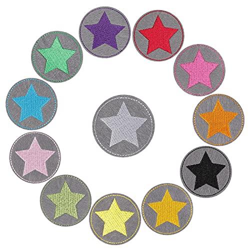 Parches de Apliques, XiYee 12 Parches de Planchado para Niños, Estrellas para Planchar de Estrellas Pequeñas Redondos, Parches Ropa Termoadhesivos, Parches Bordados Sticker para Ropa, Mochila, Gorras