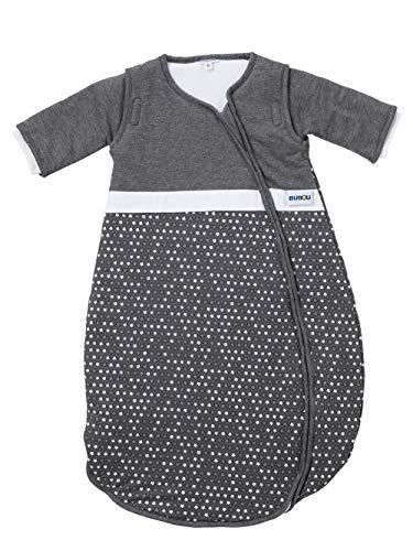 Gesslein 772093 Bubou - Saco de dormir para bebé con mangas desmontables para todo el año (90 cm), color gris antracita con estrellas, gris, 480 g