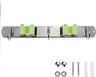 Sscon ほうきホルダー モップクリップ2個付き 3フック ステンレススチール バスルーム 壁取り付けストレージラック