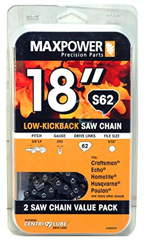 MaxPower 2 Pack Replacement Chains for 18 Inch Craftsman, Echo, Homelite, Poulan and Other saws S62