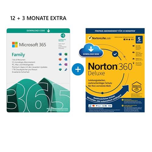 Microsoft 365 Family 12+3 Monate | 6 Nutzer | Mehrere PCs/Macs, Tablets & mobile Geräte | Download Code + NORTON 360 Deluxe | 5 Geräte |15 Monate mit Automatischer Verlängerung| Download Code