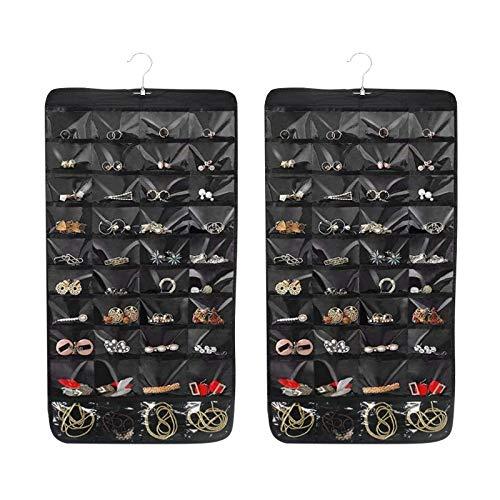 juehu Porta Gioielli da Appendere Organizer per Appendere Gioielli Double Face 80 Tasche con gruccia in metallo,Ciondola Pendenti di Stoccaggio per Orecchini Collana Bracelet Rings Display Ba