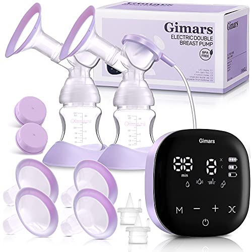 Giamrs Upgrade Electric Durable Breast Pump, Hand Free Breast Feeding Pump with 4 Modes & 36 Levels, 2 Sizes Flanges, Portable Rechargeable Breast Pumps for Travel, Home, Driving & Office