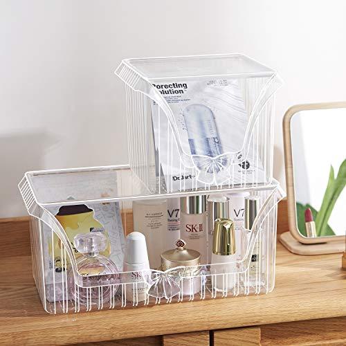 Organisateur cosmétique, support empilable en plastique transparent de stockage de partie supérieure du comptoir de produits de soin de peau de masque