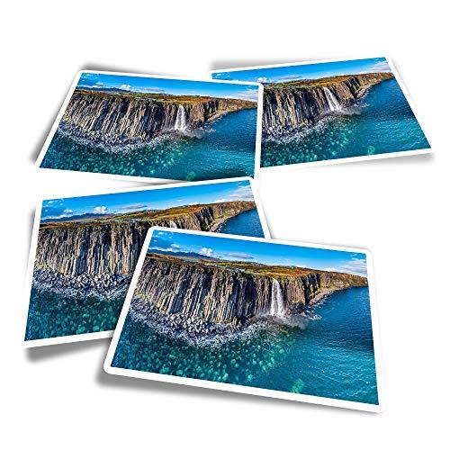 Vinyl Rectangle Stickers (Set of 4) - Kilt Rock Waterfall Isle of Skye Scotland Fun Decals for Laptops,Tablets,Luggage,Scrap Booking,Fridges #45469
