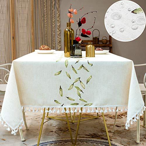 Mantel Cuadrado Tela Impermeable Algodon Lino con Borlas Empalmado Table Cloth Square para Mesa de Comedor Cocido - 140x140cm