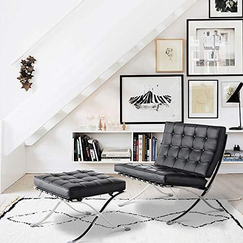 WGYDREAM - Sedia pieghevole con pouf in vera pelle nera reclinabile e poggiapiedi, per camera da letto, soggiorno, ufficio