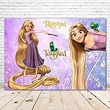 Colorwonder Fairy Tale Tangled Photo Backdrop Baby Shower for Girl 7x5ft Glitter Purple Flower Disney Rapunzel Backdrop for Girl 1st Birthday Vinyl Rapunzel Picture Banner Background