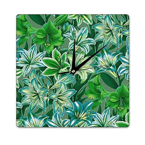 Mari57llis 38 x 38 cm kwadratowy zegar ścienny, zegar z drewna amarylisu, nietykający zegar dekoracja pokoju