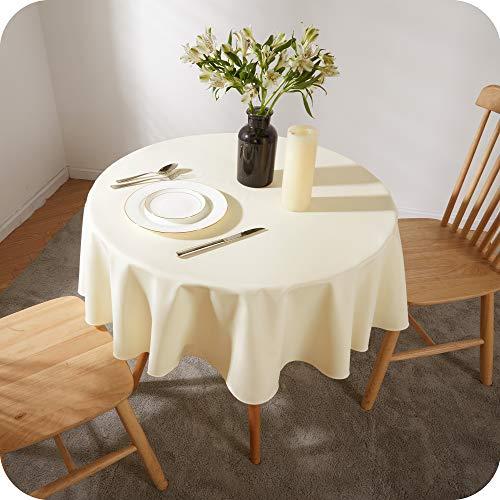 Amazon Brand - Umi Wasserdicht Tischdecke Abwaschbar Lotuseffekt Tischwäche Rund Tischtücher 140 cm Creme