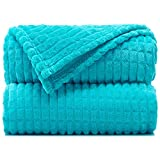 """Throw Blankets – 50""""x60"""", Peacock Blue - Lightweight Flannel Fleece - Soft, Cozy - Perfect for Bed, Sofa, Couch"""