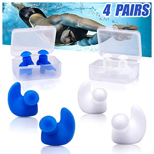 Swimming Ear Plugs, VIRIITA 4 Pairs Reusable Swimming Earplugs for Kids and Adults, Silicone Water Ear Plugs for Swimmers Showering, Bathing, Surfing and Other Water Sports