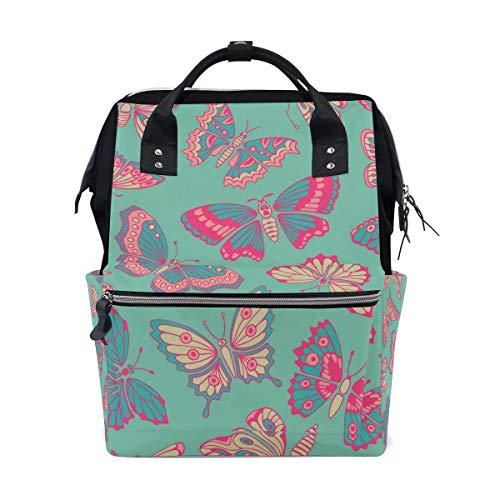 Mochila de gran capacidad con diseño de mariposas, color rosa